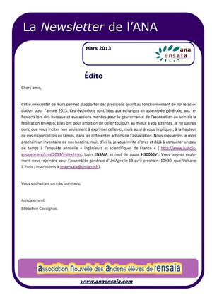 Newsletter ANA Mars 2013
