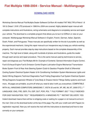 Fiat Doblo Service Manual Pdf