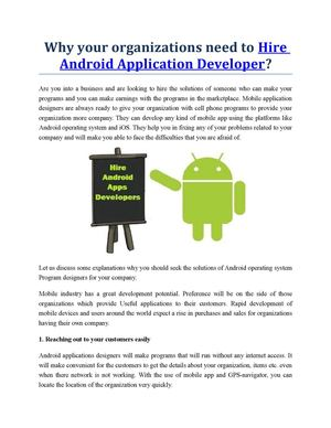 Why your organizations need to Hire Android Application Developer?