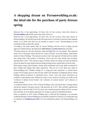 A shopping dream on Persunwedding.co.uk the ideal site for the purchase of party dresses spring