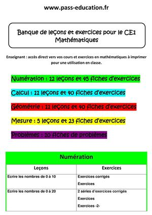 Calameo Ce1 Mathematiques Banque De Lecons Et Exercices