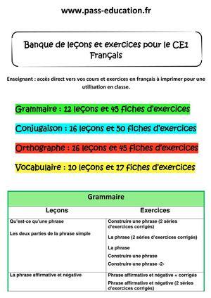 Calameo Ce1 Francais Banque De Lecons Et Exercices