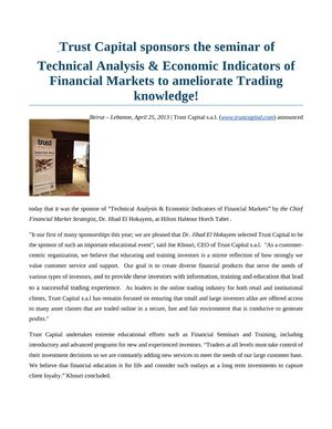 Calaméo - Trust Capital sponsors the seminar of Technical