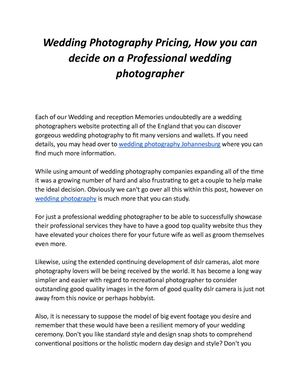 Calameo Wedding Photography Pricing How You Can Decide On