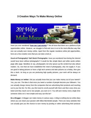 3 Creative Ways To Make Money Online