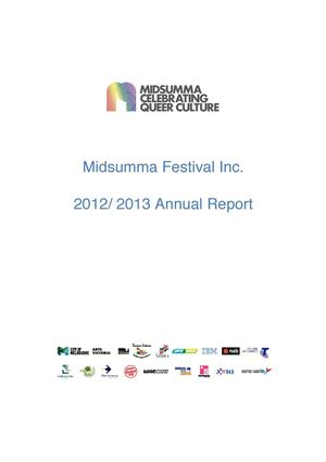 Midsumma Festival 2012/2013 Annual Report