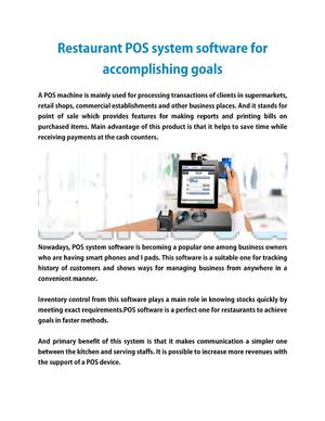 Restaurant POS system software for accomplishing goals
