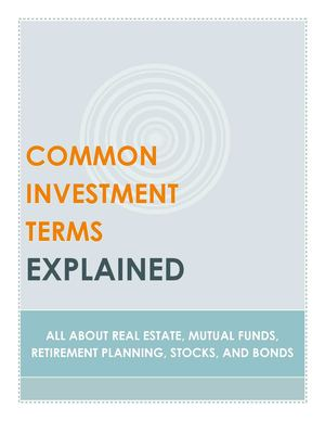 Common Investment Terms Explained