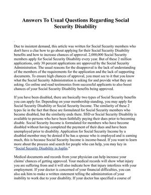 Answers To Usual Questions Regarding Social Security Disability