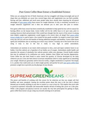 Pure Green Coffee Bean Extract a Established Science