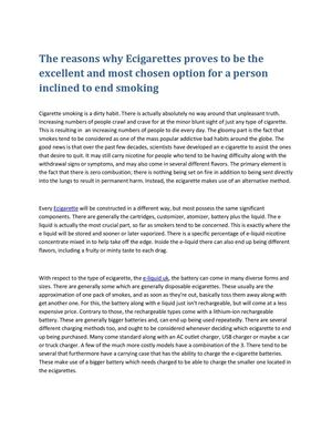 The reasons why Ecigarettes proves to be the excellent and most chosen option for a person inclined to end smoking