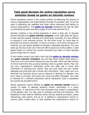 14 Take good decision for online reputation serve selection based on geeks on steroids reviews