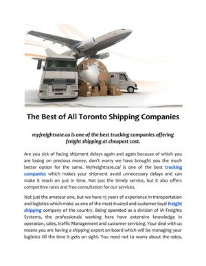 The Best of All Toronto Shipping Companies