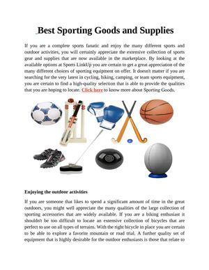 Best Sporting Goods and Supplies