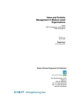 Value and Portfolio Management in Medium-sized Organizations