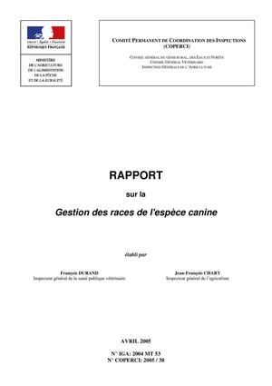 Rapport COPERCI Races canines
