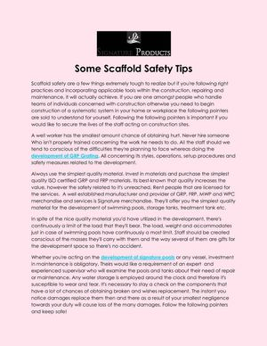 Some Scaffold Safety Tips