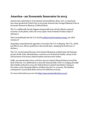 America—an Economic Innovator in 2013