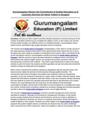 Gurumangalam Honors the Commitment of Quality Education as It Launches Services for Home Tutors in Gurgaon