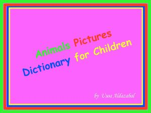 Animals pictures dictionary for children