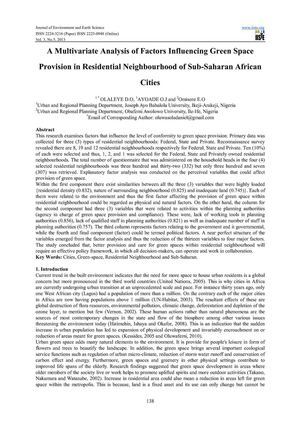 A Multivariate Analysis of Factors Influencing Green Space Provision in Residential Neighbourhood of Sub-Saharan African Cities