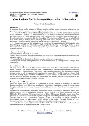 Case Studies of Muslim Managed Organizations in Bangladesh