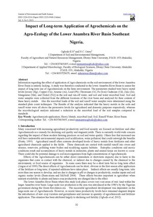 Impact of Long-term Application of Agrochemicals on the Agro-Ecology of the Lower Anambra River Basin Southeast Nigeria.