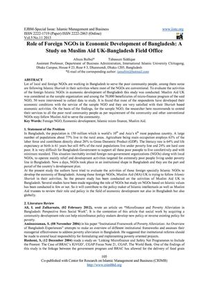 Role of Foreign NGOs in Economic Development of Bangladesh A Study on Muslim Aid UK-Bangladesh Field Office