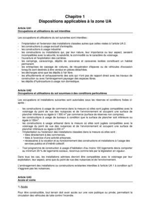 Dispositions Applicables à la Zone UA