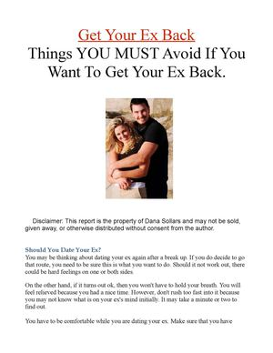 GetYour Ex Back-Things You Must Avoid Doing If You Want Your Ex Back