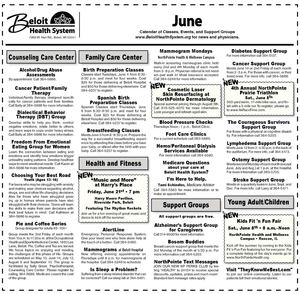 Beloit Health System Calendar for June 2013