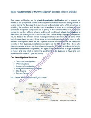 Major Fundamentals of Our Investigation Services in Kiev, Ukraine