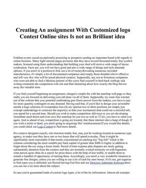 Creating An assignment With Customized logo Contest Online sites Is not an Brilliant idea