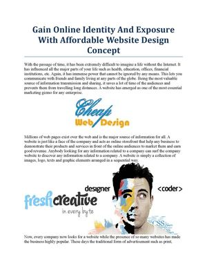 Gain Online Identity And Exposure With Affordable Website Design Concept