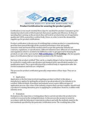 Product Certification for assuring the product quality