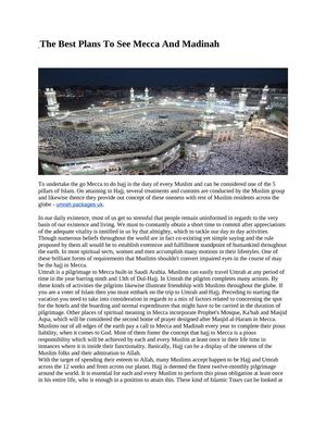 The Best Plans To See Mecca And Madinah