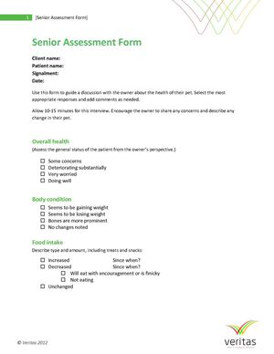 Canine Senior Assessment Form