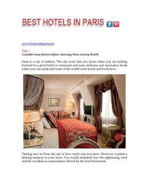 Choosing Paris Luxury Hotels