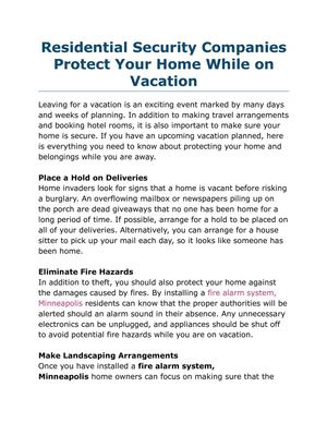 Residential Security Companies Protect Your Home While on Vacation