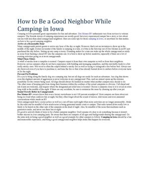 How to Be a Good Neighbor While Camping in Iowa