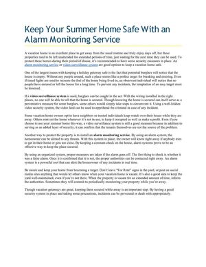 Keep Your Summer Home Safe With an Alarm Monitoring Service