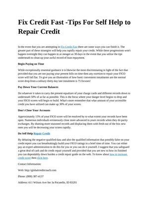 Fix Credit Fast -Tips For Self Help to Repair Credit