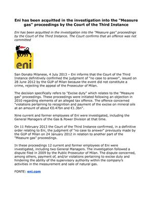 "Eni ""Measure gas"", the event did not constitute a crime"