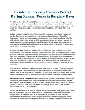 Residential Security Systems Protect During Summer Peaks in Burglary Rates