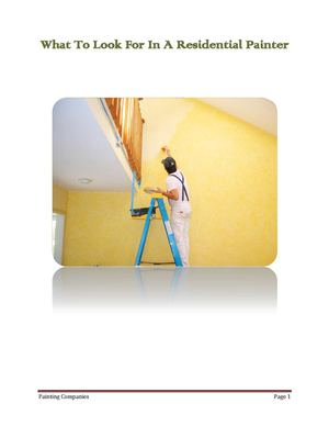 How To Pick A Residential Painting Contractor