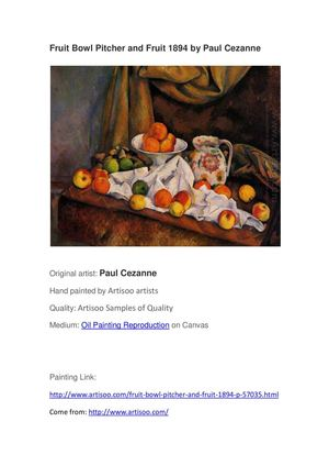 Fruit Bowl Pitcher and Fruit 1894 by Paul Cezanne --Artisoo