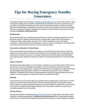 Tips for Buying Emergency Standby Generators