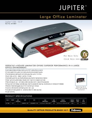Fellowes Jupiter JL 125 Laminating Machine 12 Spec Sheet