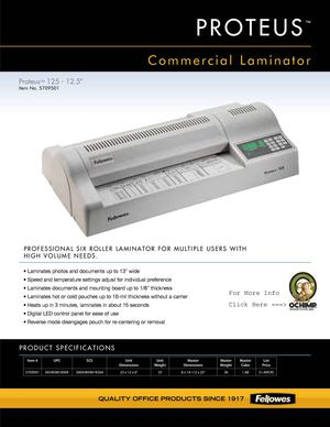 Fellowes Proteus 125 Laminator 13 Wide 10Mil Spec Sheet