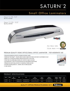 Fellowes Saturn SL 125 Laminating Machine 12 1 Spec Sheet